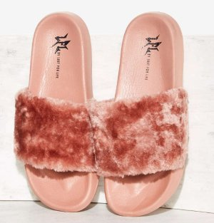 $30 LFL by Lust For Life Fine Thanks Faux Fur Slide Sandal @ Nasty Gal