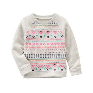 Baby Girl Geo Print Raglan Pullover | OshKosh.com
