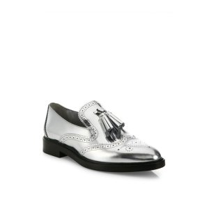 Halsmoor Metallic Leather Tassel Loafers by Burberry