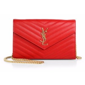 Saint Laurent Saint Laurent Monogram Medium Grained Matelasse Leather Chain Wallet