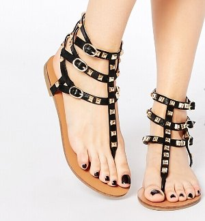 London Rebel Stud Toepost Flat Sandals @ ASOS