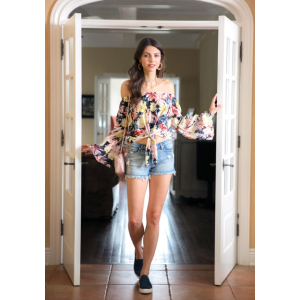 Two Arrows Off-Shoulder Painted Floral Tie Blouse | South Moon Under