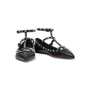 Rockstud embellished textured-leather point-toe flats | Valentino