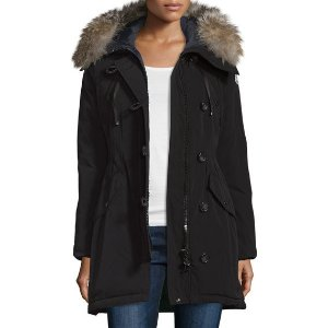 Moncler Parka w/Fox Fur Hood, Black