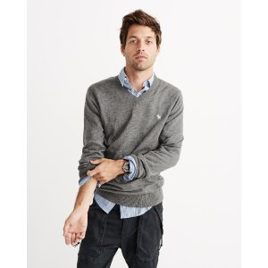 Mens Icon Wool-Blend V-Neck Sweater | Mens Clearance | Abercrombie.com