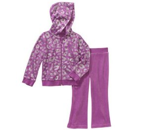 $4.5Healthtex Baby Toddler Girl Velour Hoodie and Pants Outfit Set