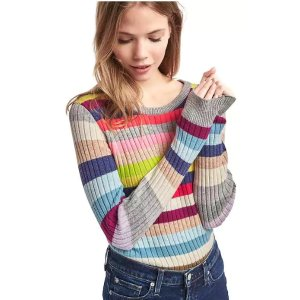 Crazy stripe merino wool blend ribbed sweater