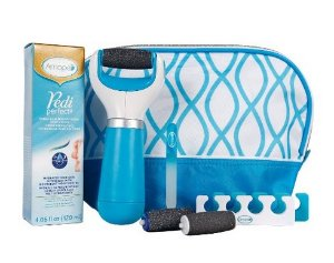 Amopé Pedi Perfect Luxury Pedicure Gift Set - Blue Electronic Foot File, Cream, Bag and more