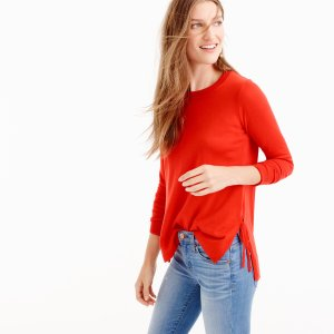 Side-slit sweater with ties : Women Pullovers | J.Crew