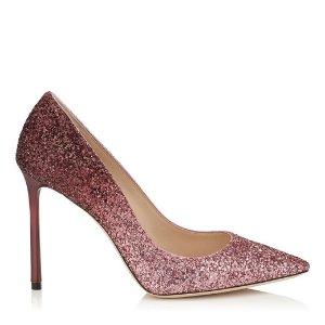 Pink and Bordeaux Dégradé Coarse Glitter Fabric Pointy Toe Pumps | Romy 100 | Autumn Winter 16 | JIMMY CHOO