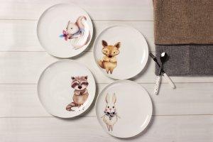 SOLECASA Cartoon Ceramic Dinnerware, Set of 4