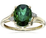 10k Yellow Gold, Created Emerald, and Diamond Oval Ring