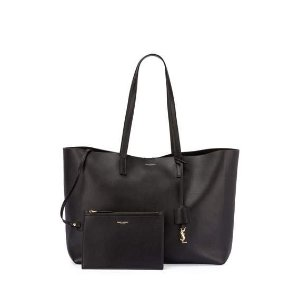 Saint Laurent Large East-West Leather Shopper Bag, Black