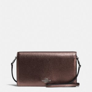 COACH: Foldover Crossbody In Pebble Leather