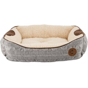Bond & Co. Grey Cable Knit Bolster Dog Bed, 24