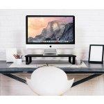 Elegant Metal Frame Wood Monitor Stand, Eutuxia