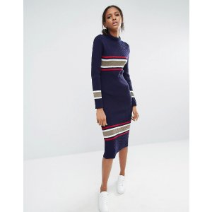 Daisy Street Tall | Daisy Street Tall Roll Neck Midi Dress With Contrast Stripe
