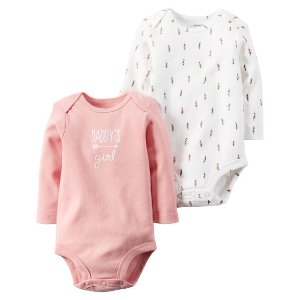 Baby Girl 2-Pack Long-Sleeve Bodysuits | Carters.com