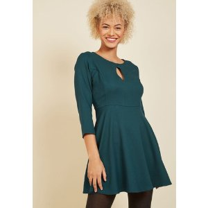 Keyhole, Places, and Things Mini Dress in Teal