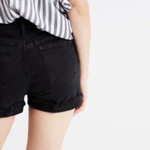 High-Rise Denim Shorts in Washed Black