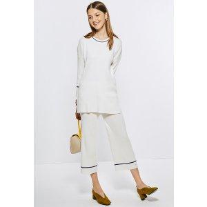 White Knit Sweater/Wide Leg Pants Set TP1567