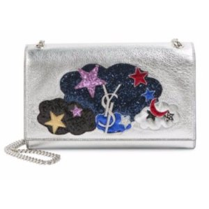 Saint Laurent Medium Kate Monogram Glitter Cloud Metallic Leather Chain Shoulder Bag