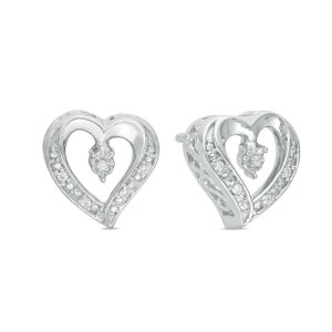 Diamond Accent Heart Stud Earrings in Sterling Silver - Save on Select Styles - Zales