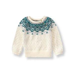 Baby Girl Ivory Fair Isle Sweater at JanieandJack