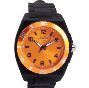$17.99 Caravelle New York Men's 45A112 54 mm Analog Display Japanese Quartz Black Watch