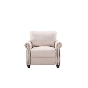 Classic Living Room Linen Armchair with Nailhead Trim and Storage Spac - Sofamania