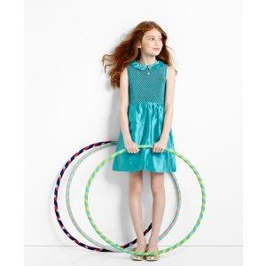 Girls' Turquoise Sleeveless Smocked Dress | Brooks Brothers