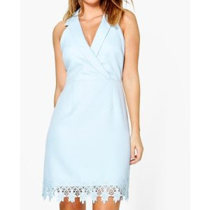 Boutique Vi Crochet Hem Tuxedo Midi Dress