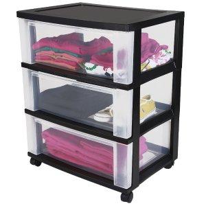 IRIS 3-Drawer Wide Cart, Black