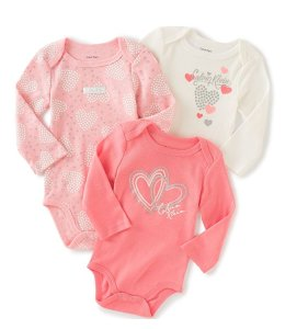 Calvin Klein Baby Girls' Assorted Long Sleeve Bodysuit (Pack of 3)