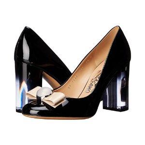 Salvatore Ferragamo Fiammetta Nero Patent Leather/Macadamia Patent Leather - Zappos Luxury