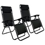 Set of 2 Zero Gravity Outdoor Patio Chairs - Black