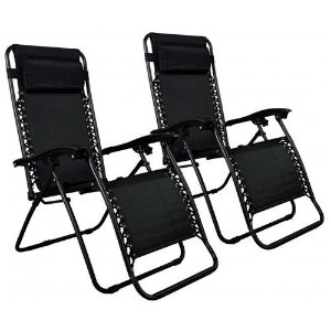 2 For $44.99 Set of 2 Zero Gravity Outdoor Patio Chairs - Black