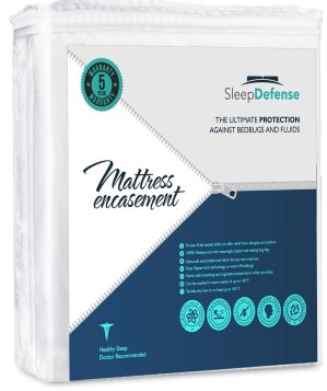 Sleep Defense Premium 100% Waterproof/Bed Bug Proof Noiseless Mattress Encasement