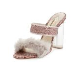 Sophia Webster Skye Faux-Fur-Trimmed Pebbled Mule