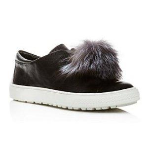 Delman Marli Leather and Marten Fur Pom Pom Sneakers