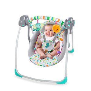 Prime Member Only! Bright Starts Itsy Bitsy Jungle Portable Swing, Grey