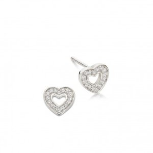 Yellow Gold Mini Heart Biography Stud Earrings | Astley Clarke London
