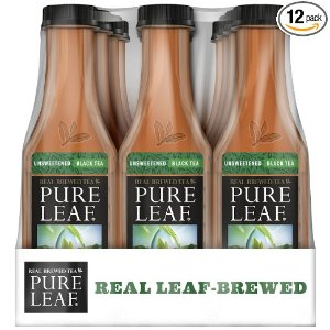Pure Leaf Iced Tea, Unsweetened, Real Brewed Tea, 0 Calories, 18.5 Ounce (Pack of 12)