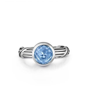 Peter Thomas Roth Ribbon and Reed Fantasies Blue Topaz Bezel Set Solitaire Ring in 18K yellow gold
