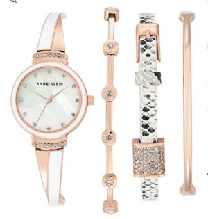 $62.00(reg.$175.00) Anne Klein Rose Gold-Tone Brace Watch Set 26mm AK/2342RWST