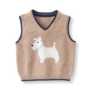 Baby Boy Puppy Tan Scottie Sweater Vest at JanieandJack