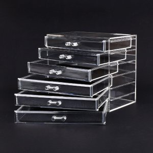MVPower Large Cosmetic Makeup Organizer Clear Acrylic Jewerly Organizer Box 6 Tier Drawers Storage Case