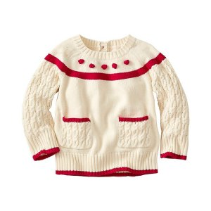 Baby Pocket & Pom Cable Sweater   Baby Sweaters