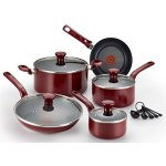 T-fal C514SE Excite Nonstick Thermo-Spot Dishwasher Safe Oven Safe PFOA Free Cookware Set, 14-Piece, Red