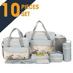 SOHO Collections, 10 Pieces Diaper Bag SetLimited time offer (Gray with Rabbits)
